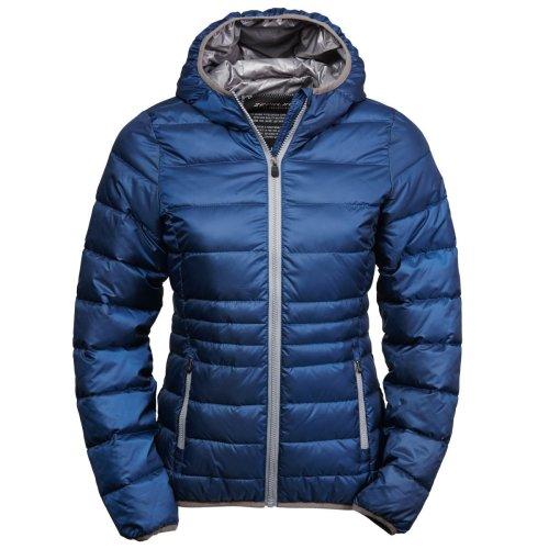 (M, Navy/Grey) Tee Jays Womens/Ladies Hooded Padded Zepelin Jacket