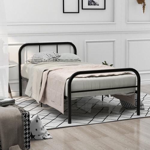 Single Metal Bed Frame 3ft Single Bed Frame, Black (90x190cm)