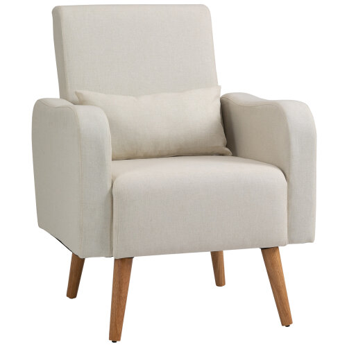 HOMCOM Nordic Armchair Sofa Chair Solid Wood Living Room Linen