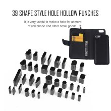 39 Shape Hole Hollow Cutter Punch Metal Leather Craft Diy Tool Phone Holster
