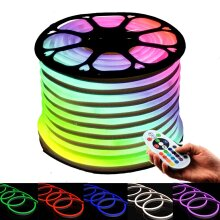 RGB LED Neon Flex 220V 240V 10x20mm Flat Shape IP67 Waterproof with Remote