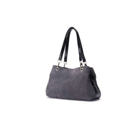 """Woodland Leather Grey Suede Twin Handle Central Compartment 12.0"""" Hand Bag"""