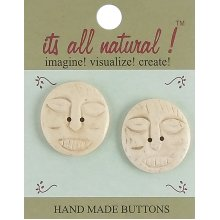 "Vision Trims Handmade Bone Buttons-Ethnic African Face 1-1/4"" 2/Pkg"