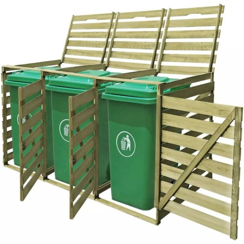 vidaXL Triple 240L Impregnated Wood Wheelie Bin Shed