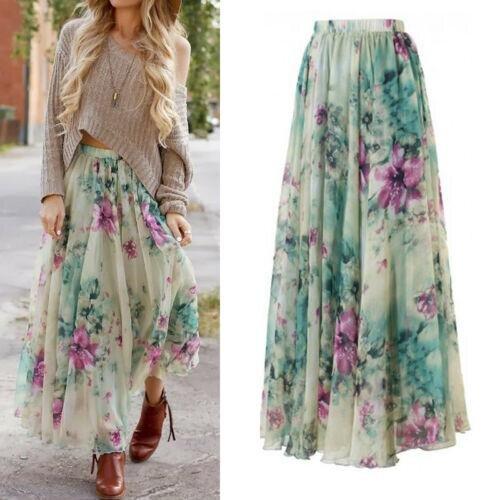 (Multi1, XL) Floral Long Maxi, Full Skirt For Women,s
