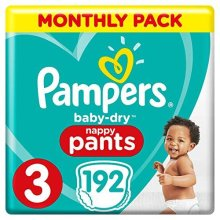 Pampers Baby-Dry Nappy Pants Size 3, 192 Nappy Pants, Monthly Saving Pack, Easy-On with Air Channels for Up to 12 Hours of Breathable Dryness, 6-11