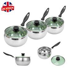 3Pcs Induction Pan Set Saucepan Set Cookware Pot Stainless Steel