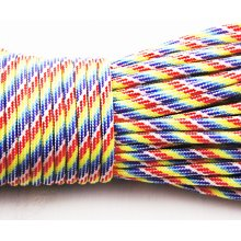 2m 6.56ft 2.18yrd Rainbow Striped Paracord 330 Parachute Macrame Beading Cord Braided Rope For Survival Bracelet Kumihimo 4mm 0.16 in