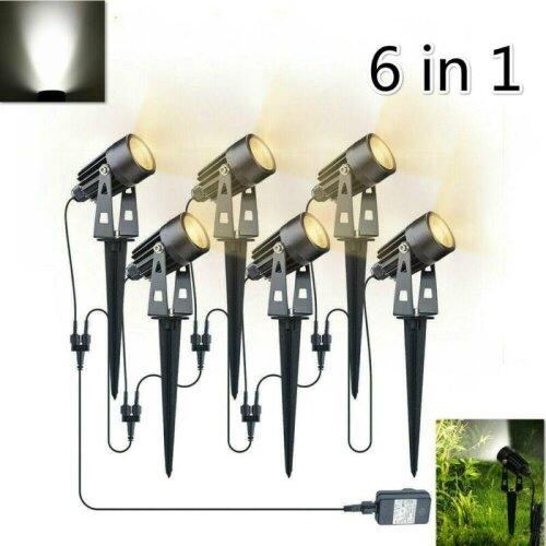 6PC LED Waterproof Spike Lights Garden Spotlight Solar Powered