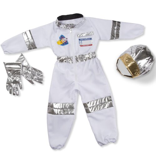 Melissa & Doug Astronaut Role Play Costume Set (5 pcs) - Jumpsuit, Helmet, Glove