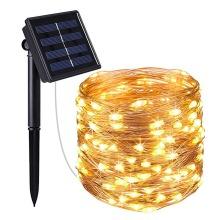 10m Ranpo Solar-Powered String of 100 Warm White LED Fairy Lights