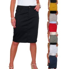 Women's Stretch Chino Sheen Jeans Style Pencil Skirt 10-22