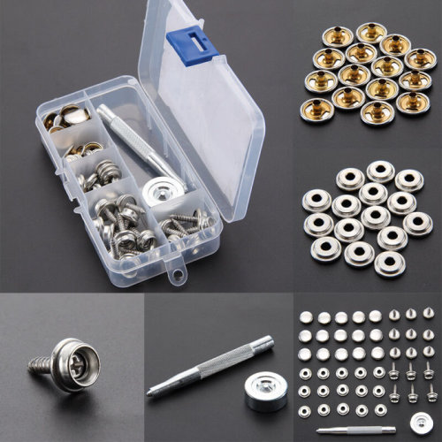 Heavy Duty Snap Fasteners 15mm 30 Sets Press Studs Kit Buttons w/Tool