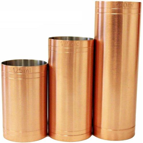 (Wine Measures - 3 pcs) Copper Plated Thimble Bar Measures Set CE Marked