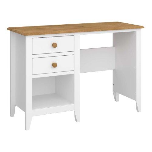 Two Tone White Single Pedestal Pine Dressing Table 2 Drawer Storage Shelf Space