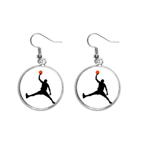 Slam Dunk Sports Basketball Running Ear Dangle Silver Drop Earring Jewelry Woman