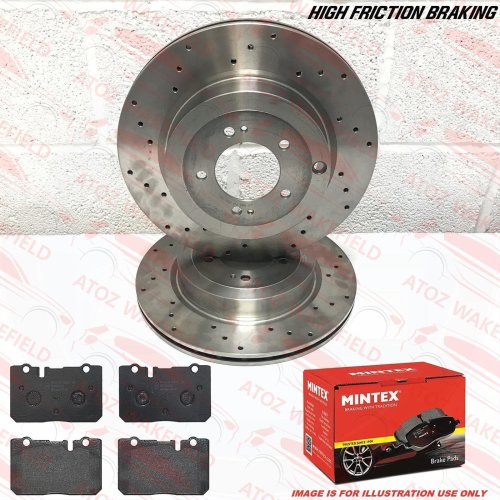 FOR LEXUS LS400 FRONT DRILLED PERFORMANCE BRAKE DISCS MINTEX BRAKE PADS 307mm