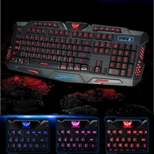 LED Gaming Keyboard USB Wired QWERTY 3 Color Illuminated Backlit Blue/Red/Purple