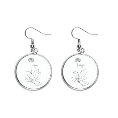 Dandelion Flower Plant Leaves Ear Dangle Silver Drop Earring Jewelry Woman