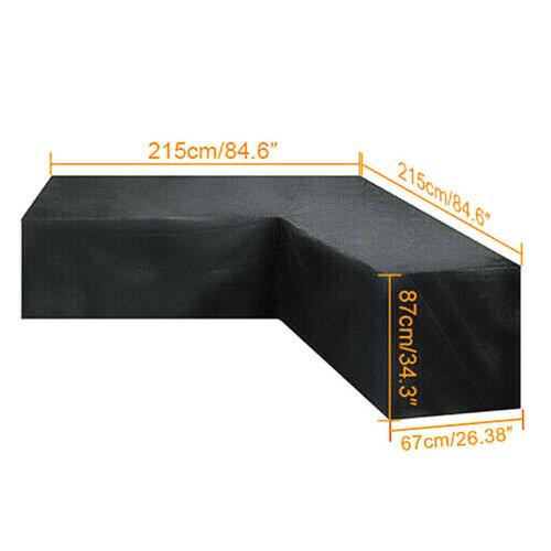 (215x215x87cm) L Shape Waterproof Rattan Corner Furniture Cover Garden Patio Outdoor Sofa Protector