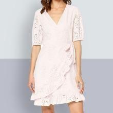 find. Women's Mini Cotton Wrap Dress, Pink