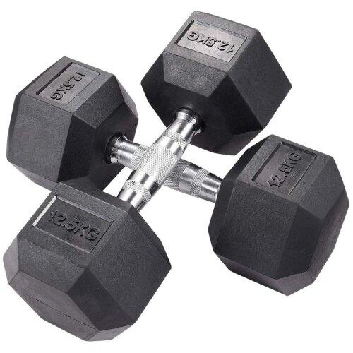 (2 x 12.5KG) Dumbbell Set Pair Gym Body Building Fitness Dumbbells Hexagonal