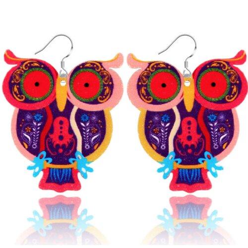 Colorful Acrylic Big-eye Owl Earrings Jewelry Women