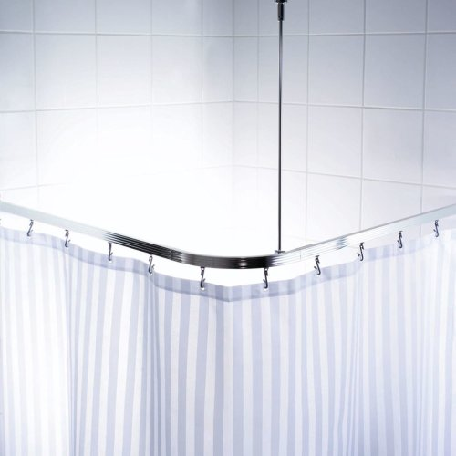 RIDDER Universal Corner Shower Curtain Rail With Hooks