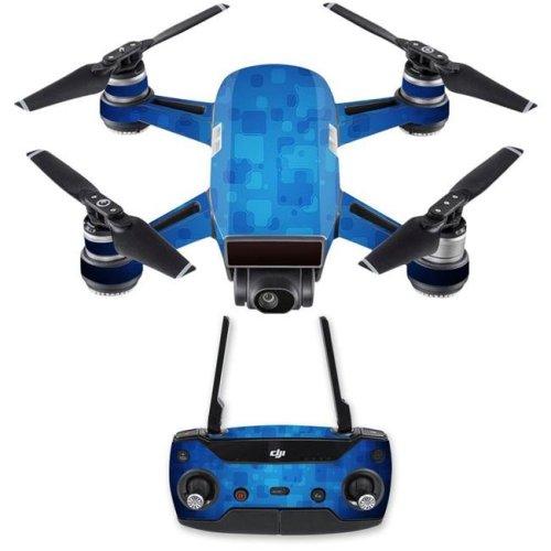 MightySkins DJSPCMB-Blue Retro Skin Decal for DJI Spark Mini Drone Combo Sticker - Blue Retro