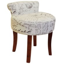LYON - Low Back Chair / Padded Stool with Retro French Print and Wood Legs - Cream / Brown
