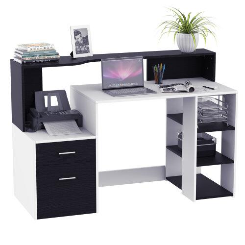 HOMCOM Multi-Storage & Workstation Desk Table Storage Shelves Home Office