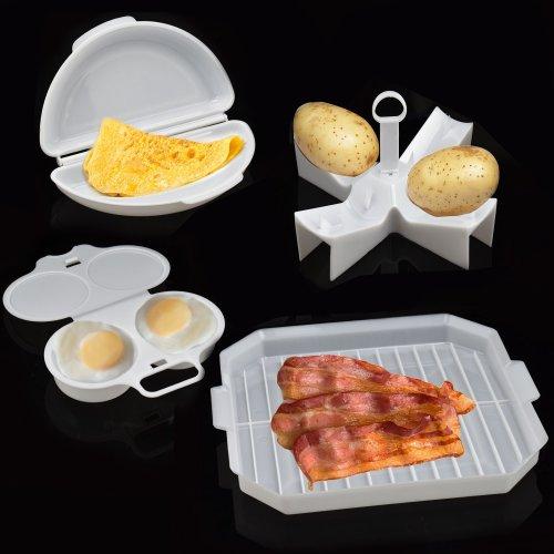 4 Piece Microwave Breakfast Cooking Set Egg Poacher Bacon Potato Omelette Maker