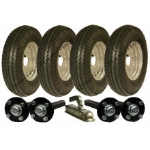 High speed twin axle trailer kit 4.80/4.00-8, wheels hub & stub axle