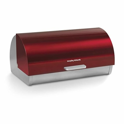Morphy Richards 46241 Accents Roll Top Bread Bin, Stainless Steel, Red