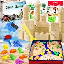 Dino Sand Kit 3lbs Dinosaur Motion Sand With Sandbox Moulds Tools Creative Toys for Boys Girls Ages 3+