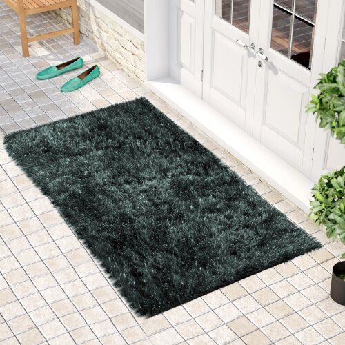 "(60 x 110 cm-(2'x3'7""), Natty Black Grey) Non Slip Shaggy Thick Pile Glitter Door Floor Mat Indoor Outdoor"