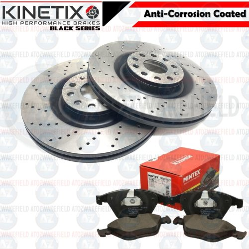 FOR BMW Z4 35i 35is FRONT CROSS DRILLED PERFORMANCE BRAKE DISCS PADS 348mm