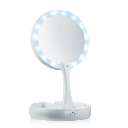 Round Folding Light-Up Mirror | Double-Sided Makeup Mirror