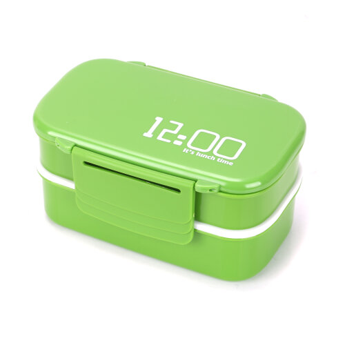 (Green) Lunch Box Stacking Compartments Food Container