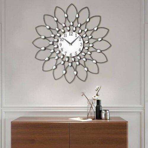 Large 50cm Clear Diamante Beaded Jewelled Black Metal Spike Sunburst Wall Clock
