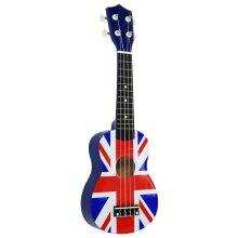 """Oypla Union Jack 21"""" Soprano 4 String Ukulele with Carry Bag"""