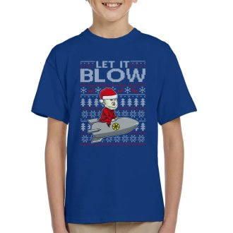 Let It Blow Kim Jong Un Christmas Knit Pattern Kid's T-Shirt