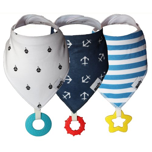 Snazzy Kid® Baby Bandana Dribble Bib with Teether 3pk Also Acts as Dummy Chain