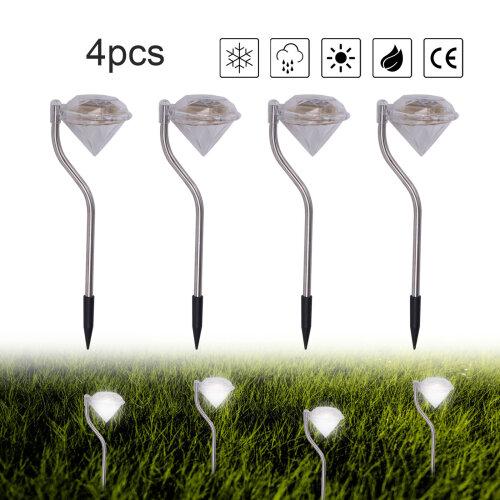 4Pcs Solar Powered Stainless Steel LED Diamond Stake Lights Garden