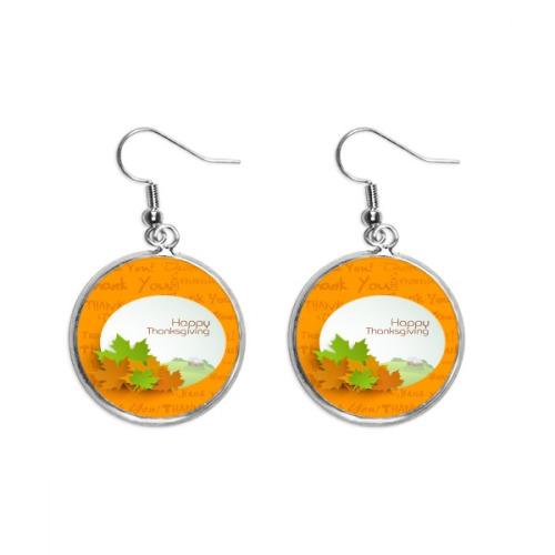 Happy Thanksgiving Day Cartoon Pattern Ear Dangle Silver Drop Earring Jewelry Woman