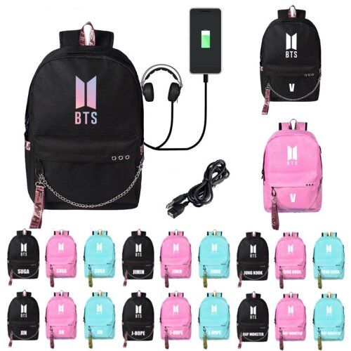 BTS USB Backpack Schoolbag Laptop Bag Rucksack