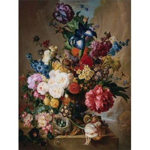 Poppies Peonies & Other Flowers in A Terracotta Vase Poster Print by Jan Van OS, 11 x 14 - Small
