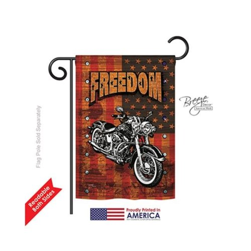 Breeze Decor 61001 Patriotic Americana Motorcycle Banner 2-Sided Impression Garden Flag - 13 x 18.5 in.