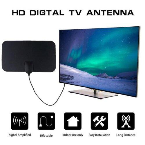Indoor HD Signal Amplifier Digital TV Antenna, HDTV 4K 50 Miles Range 25DB For VHF UHF HDTV Antenna TV Signal Receiver
