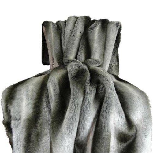 Plutus PB16430-102x116 102 x 116 in. Chinchilla Faux Fur Handmade Throw Blanket - Gray & Silver